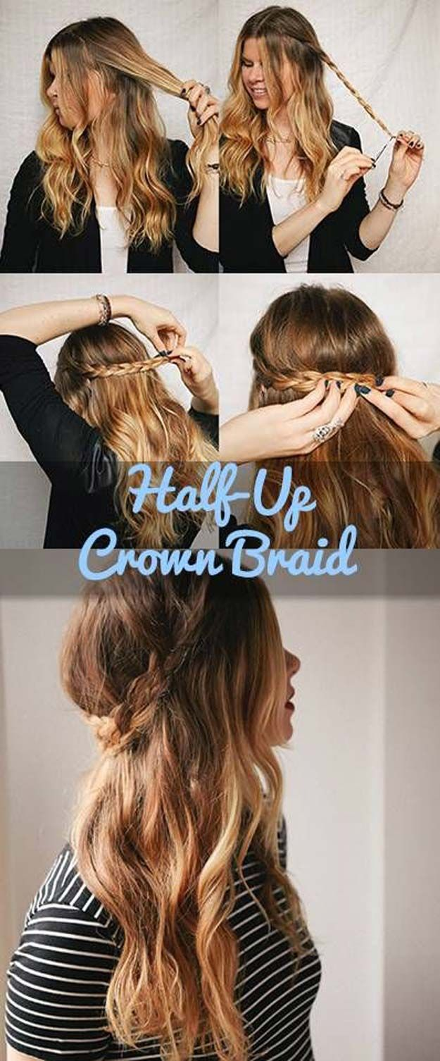 Festival Hair Tutorials - Half-Up Crown Braid - Short Quick and Easy Tutorial Guides and How Tos for Braids, Curly Hair, Long Hair, Medium Hair, and that Perfect Updo - Great Ideas for That Summer Music Edm Show, Whether It's A New Hair Color or Some Awesome Accessories and Flowers - Boho and Bohemian Styles with Glitter and a Headband - thegoddess.com/festival-hair-tutorials