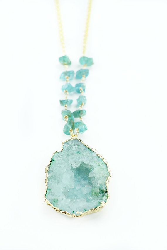 Gold Edged Green Geode Necklace with rough cut stone chain accent
