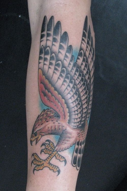 Grey Ink Flying Hawk Tattoo On Left Sleeve