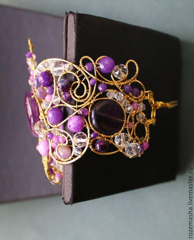 Купить Браслет Аметистовая Полночь - фиолетовый, комплект, витое, wire wrap, романтичное, винтаж, модерн