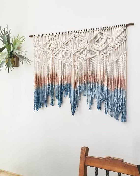 Large Macrame Wall Hanging Your Choice Of Dipdye Color Beachy Tapestry Macrame Wall Hanging Large Macrame Wall Hanging