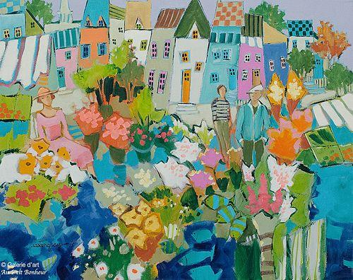 Claudette Castonguay, 'En juillet au petit marché de St-Irénée', 16'' x 20'' | Galerie d'art - Au P'tit Bonheur - Art Gallery