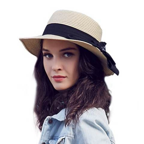 2016 straw boater hat with bow for beach UV ladies sun hats