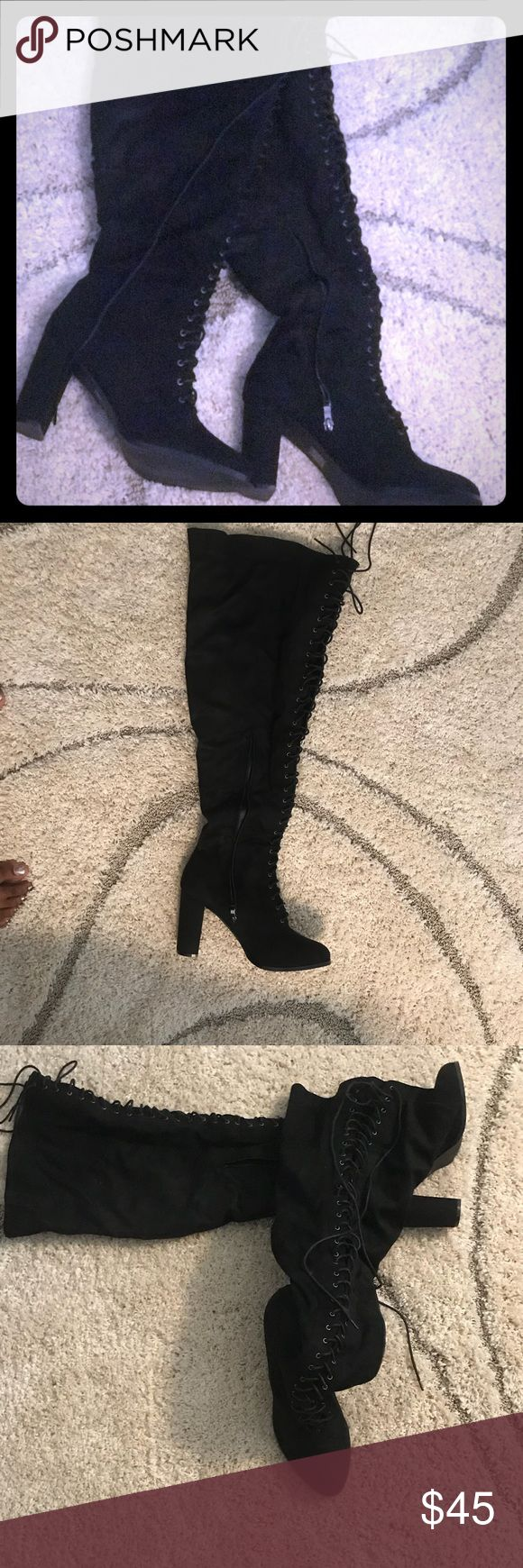 Thigh high lace up boots Thigh high lace up boots size 12 Wide true to size brand new SUEDE MATERIAL 3-4. Inches heel Shoes Over the Knee Boots