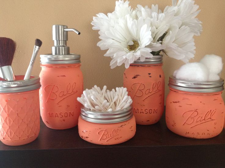 Mason jar bathroom set mason jars bathroom decor bridal for Bathroom decor mason jars