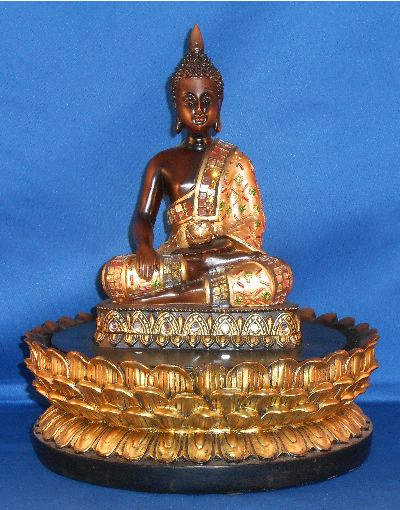 Thai Buddha Water Feature for the home by Leonardo Teak effect Thai Buddha sitting on a lotus flower is the setting for this lovely water feature £29.50 + p&p #buddha #buddha statue