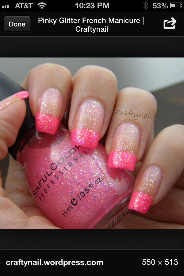 Pink french manicure and glitters
