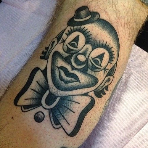 Whippy black clown @salonserpenttattoo #traditional #tattoo...