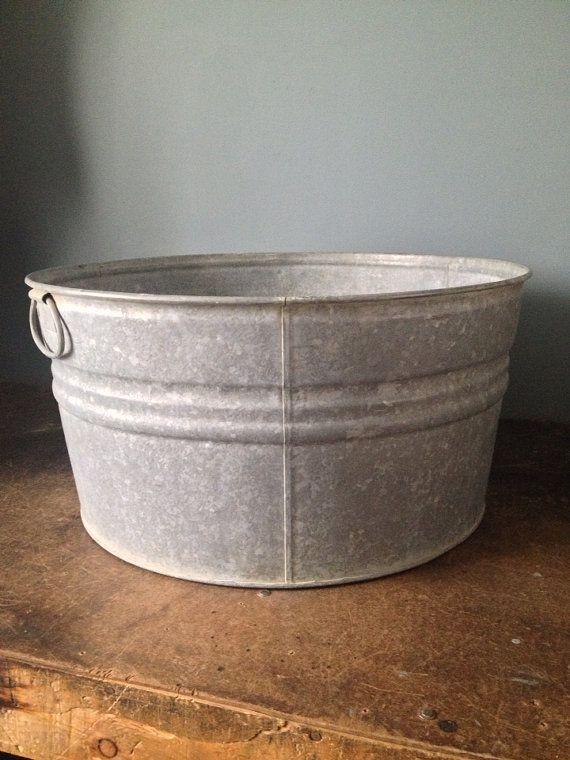 Large Vintage Metal Galvanized Washtub With By Zassystreasures 35 00 Vintage Metal Wash Tubs Metal