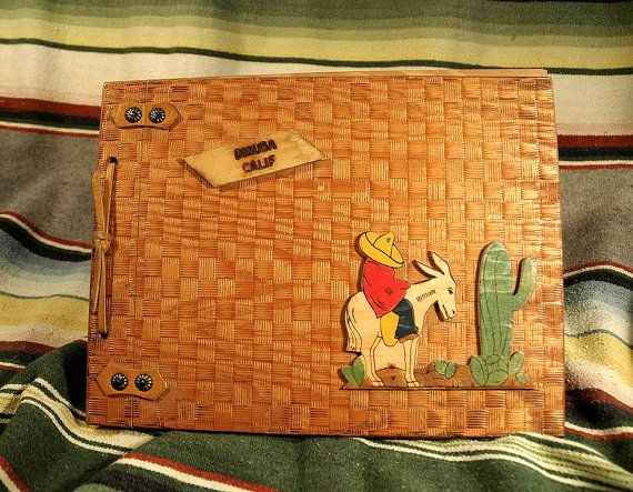 1940s Wood Cover Photo Album Scrapbook Mexicana by CityDifferent, $12.00
