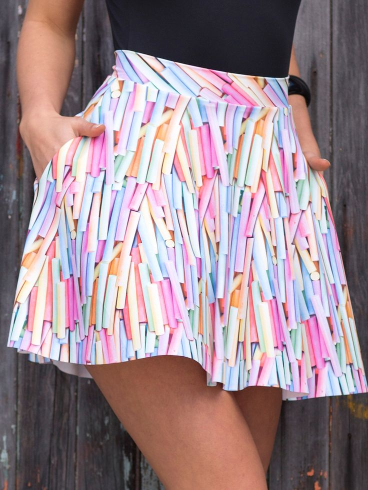 Chalky Pocket Skater Skirt (WW 48HR $65AUD / US - LIMITED $52USD) by Black Milk Clothing