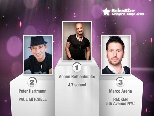 """Hier sind sie, Eure """"Hairdressers most voted"""" die SalonStars 2013 in der Kategorie Stage Artist:    1. Achim Rothenbühler - nominiert von J.7 school  2. Peter Hartmann - nominiert von PAUL MITCHELL®  3. Marco Arena - nominiert von REDKEN 5th Avenue NYC"""