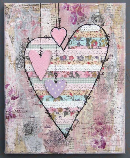 Original pinner sez: heart - love the layers, colors, layout ... little hanging hearts are so sweet, i think I'd want to write on them ... :)