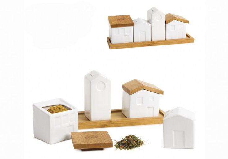 Un range-épices en forme de maisons