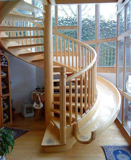 Jenna Marbles..? lolSpirals Staircases, For Kids, Dream Homes, Sliding Stairs, Indoor Slides, Spiral Stairs, Stairs Sliding, Dream Houses, Spiral Staircases