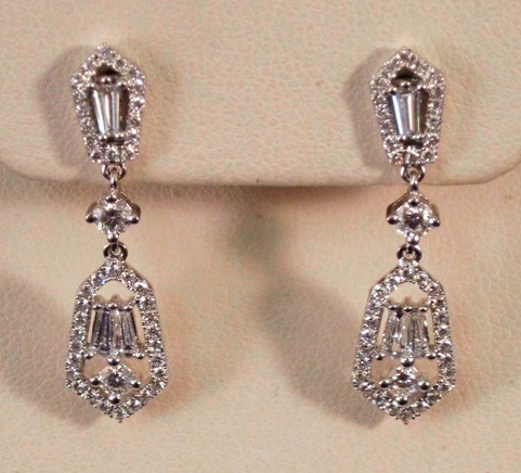 18k white gold diamond earrings -- tapered baguette-cut and round stones in an antique art deco style. For dressup!