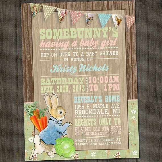 Peter Cottontail, Peter Rabbit Vintage Printable Baby Shower Party Invitation