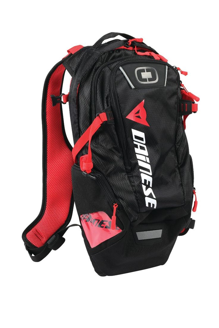 Dainese D-Dakar Hydration Backpack --  A good looking combination water and small storage backpack from Dainese. The new D-Dakar Hydration Backpack features a 3 litre (100 oz) water bladder, a large centre compartment to store clothing and other riding gear along with two external side pockets suitable for smaller stuff. The pack's harness system has top compression straps and ergonomically padded air mesh shoulder straps.