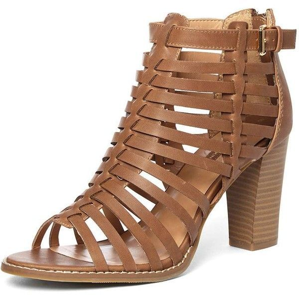 Dorothy Perkins Tan 'Sand' Gladiator Sandals ($59) ❤ liked on Polyvore featuring shoes, sandals, heels, brown, brown high heel sandals, high heel sandals, stacked heel sandals, brown heeled sandals and gladiator sandal