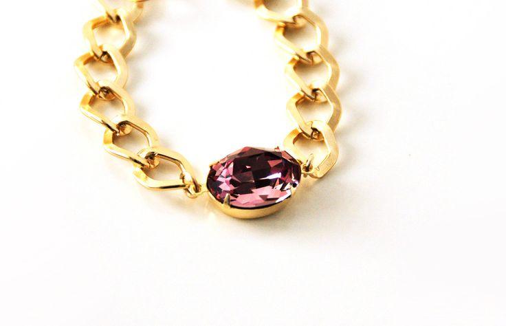 Pink Swarovski Gemstone Bracelet Thick Gold Chain Sparkle Shine Handmade jewelry by Bellalizd on Etsy