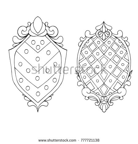 Shield of the knight, decorative frame. Element of design, a template for creativity