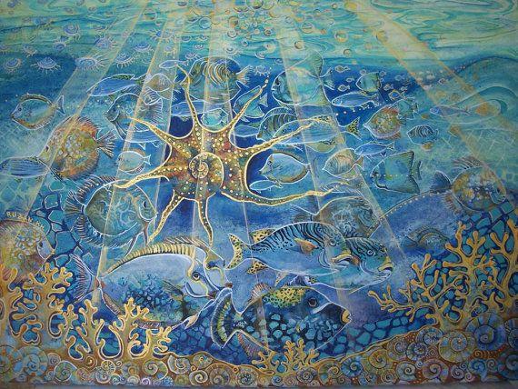 Pesci nel mare la vita sottomarina dipinto di Stellangelo su Etsy