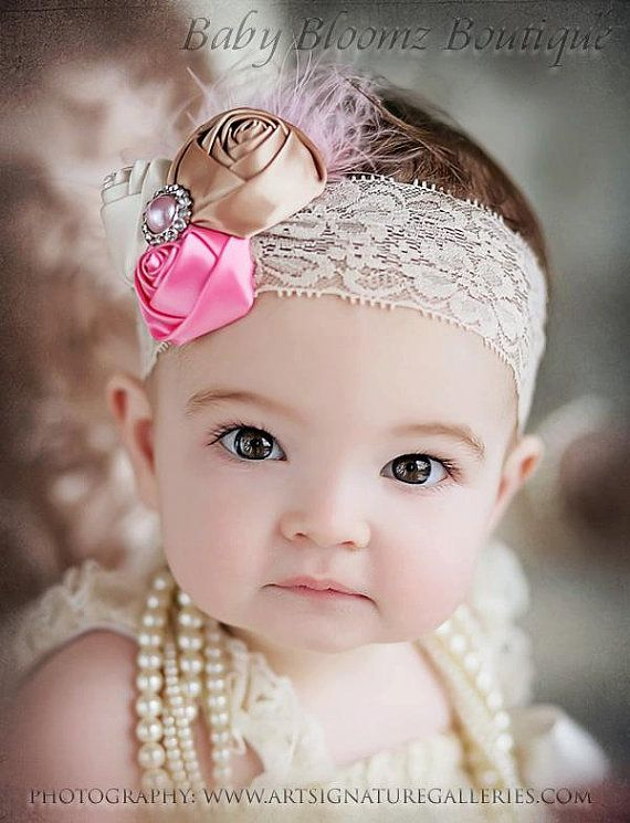 Baby Headband Baby hair bow flower headband by BabyBloomzBoutique, $12.95