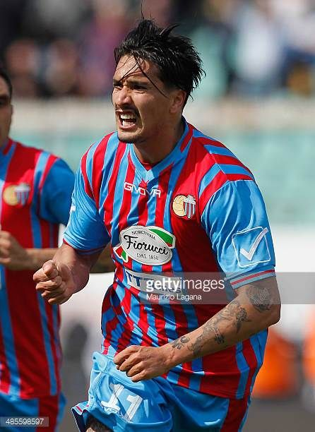 Sebastian Leto of Catania celebrates after scoring his team's opening goal during the Serie A match between Calcio Catania and UC Sampdoria at Stadio...