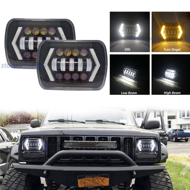 1 Pair 5x7 7x6 Inch Angel Eyes Drl H4 Led Square Headlights For Jeep Wrangler Yj Cherokee Xj Comanche Mj Led Rectangle Headlamp Review Jeep Wrangler Yj Jeep Wrangler Jeep