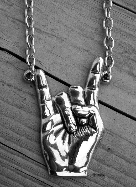 Silver Devil Horns Necklace Heavy Metal Jewelry Metal Hand Sign Rock On Hand…