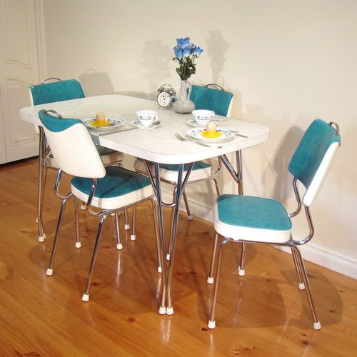 "Black And White Retro Dining Table And Chairs Set: Stunning 1960s Retro ""Dining Suite"" Chrome Laminex Vintage"