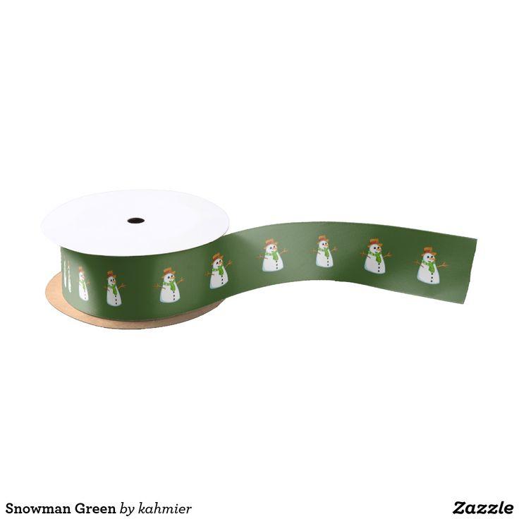Snowman Green Satin Ribbon  25% off