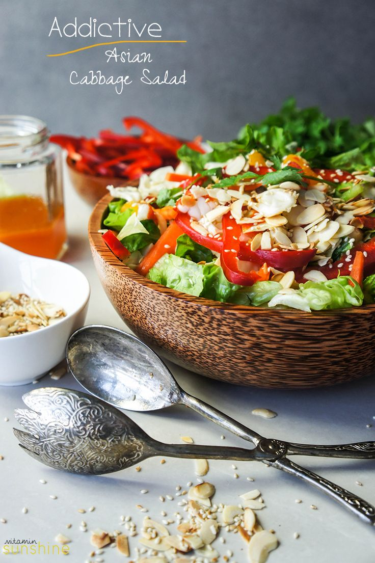Asian Cabbage Salad - the perfect combination of crunchy, sweet, and tangy-- this salad will be gone before you know it!