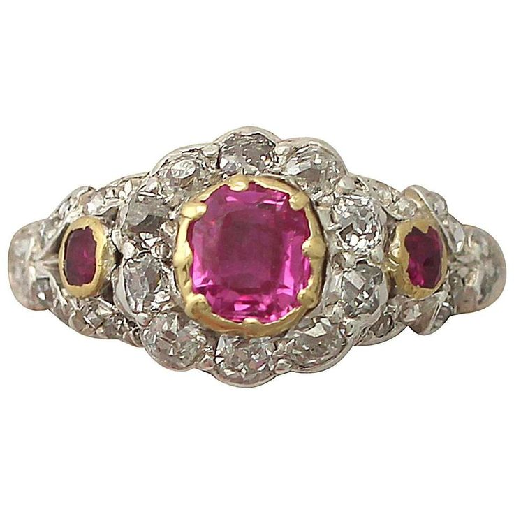 Synthetic Ruby & 0.62Ct Diamond, 18k Yellow gold Dress Ring, Antique Victorian 1
