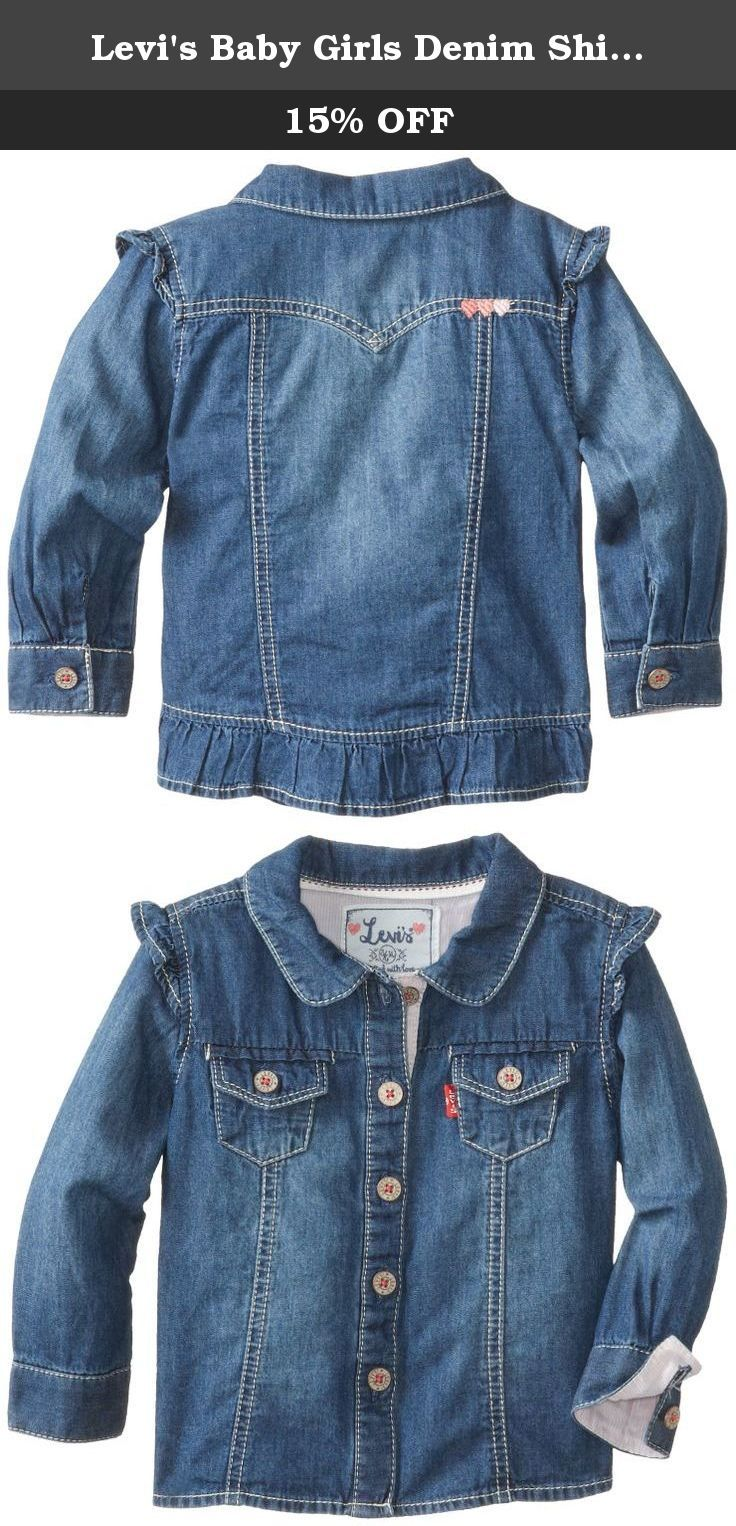 Levi's Baby Girls Denim Shirt, Iced Blue, 3-6 Months. The beauty is in the details of this feminine denim button-up. Levi's terry denim shirt for girls features levy's logo buttons, tri-heart embroidery and a fabric ruffle for a charming look you'll both love.