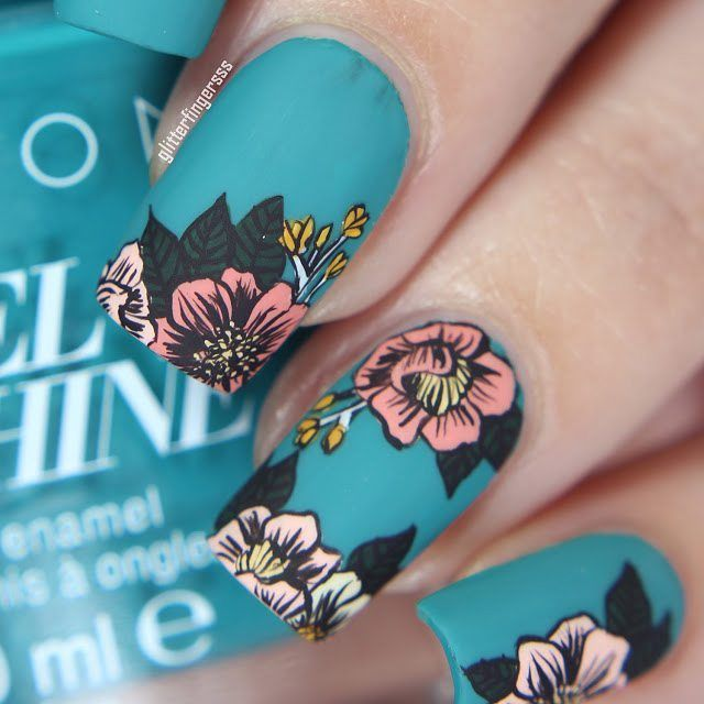 Turquoise and Coral Floral Nails
