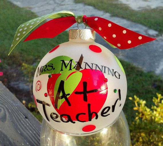 Personalized Christmas Teacher's Ornament; I have to figure out how to make these for Christmas! I am thinking it is just vinyl and rhinestones! Top it off with a little ribbon and you are set!