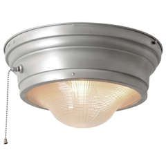 Industrial Flush Mount with Prismatic Lens and Pull-Chain by Perfeclite | From a unique collection of antique and modern flush mount at https://www.1stdibs.com/furniture/lighting/flush-mount-ceiling-lights/