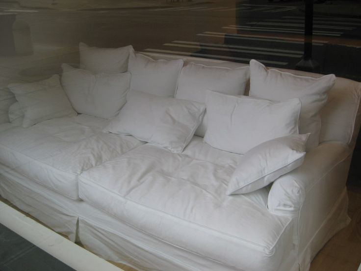 Over Sized Deep Couch Decor With White Linen Slip Cover As Well As Apartment : deep sectional couches - Sectionals, Sofas & Couches