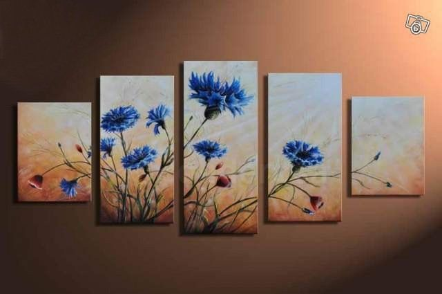 Blue blooming flowers - Direct Art Australia.  Price: $389.00,  Shipping: Free Shipping,  Size of Parts: 35cm x 50cm x 2 panels + 35cm x 70cm x 2 panel + 35cm x 80cm x 1 panel,  Total Size (W x H): 175cm x 80cm,  Delivery: 14 - 21 Days,  Framing: Framed & Ready to Hang!  100% Oil Painting on Canvas!  We handpaint all our wall art decor paintings - no prints, posters or canvas prints.  http://www.directartaustralia.com.au/