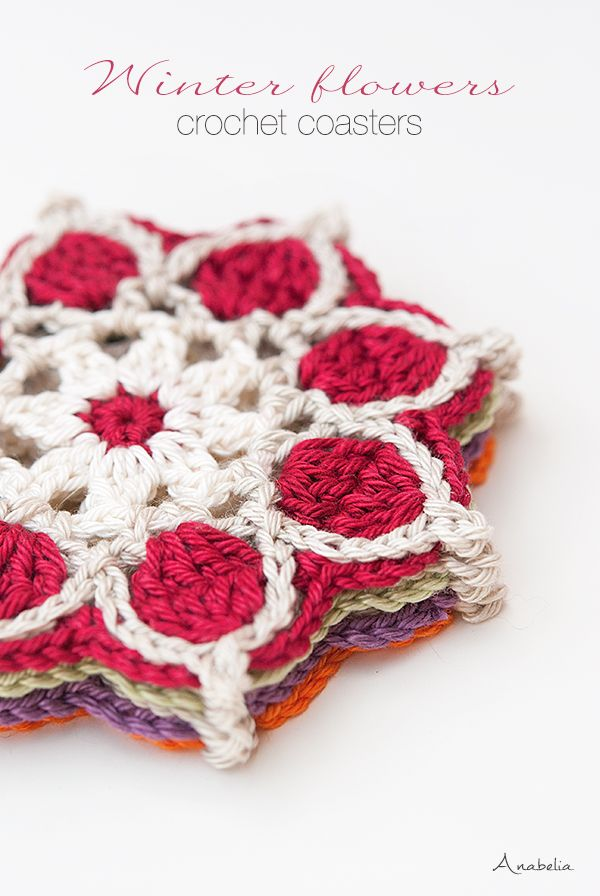 Winter Flowers crochet coasters, crochet motif # 1 / 2017