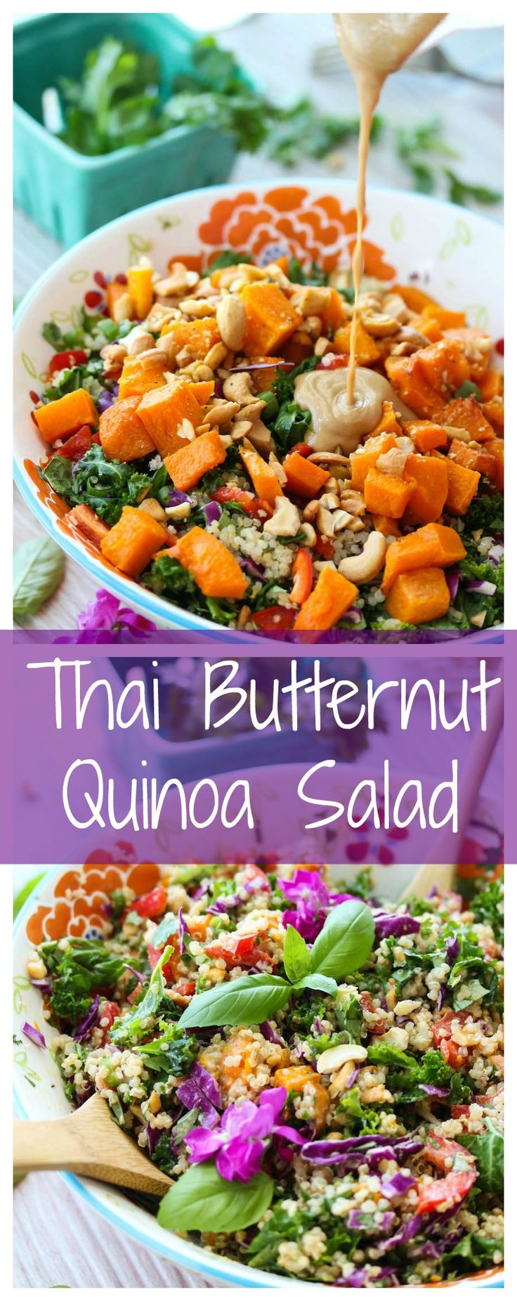 Thai Butternut Quinoa Salad is packed with antioxidant-rich, nutritious ingredients. It's easy to make and naturally gluten-free. Great for weekday lunches!   dishingouthealth.com