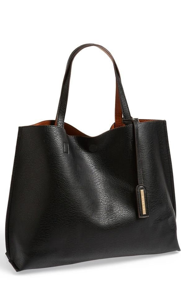 Nordstrom  Street Level Reversible Faux Leather Tote & Wristlet Juniors