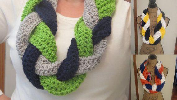 Seahawks, crochet, team scarf, infinity scarf, any team, custom order, Seattle