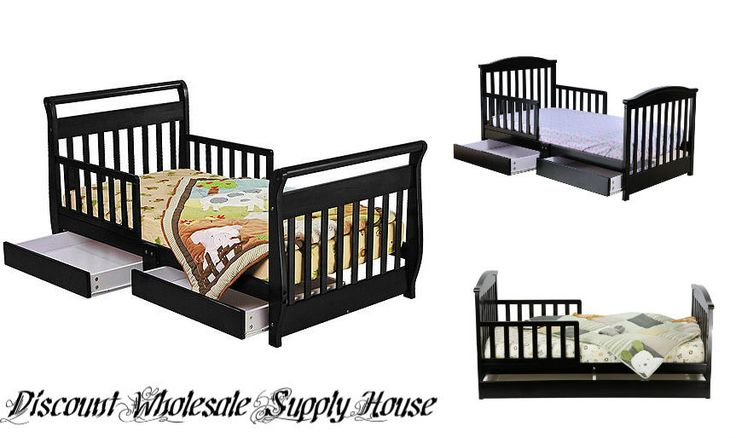 Black Toddler Bed Frame Under Storage Dresser Chest