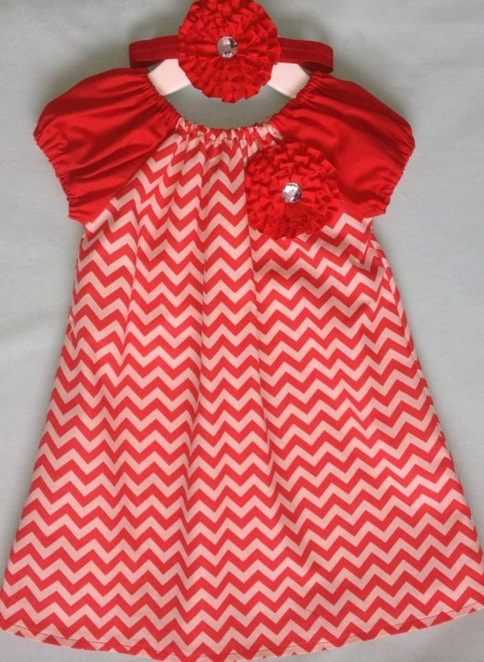 Really cute Red Ruffle Flower Chevron Dress by PrettyBabyThings, $39.95