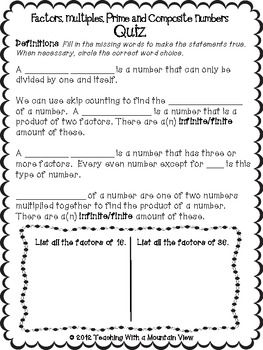 FREE: Factors Multiples Prime and Composite Number QUIZ via Teaching With a Mountain View. 3 page quiz plus ANSWER KEY on Factors and Multiples and Prime and Composite Numbers. Includes Greatest Common Factors, Least Common Multiples, and Prime Factorization. * Free Elementary Worksheet Printables *