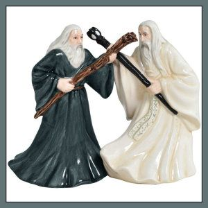 The Lord of The Rings, Gandalf and Saruman, Magnetic Ceramic Salt and Pepper Shaker Set The set measures 4.25″ tall. It is a Licensed The Lord of the Rings product. They are dishwasher and microwave safe. http://theceramicchefknives.com/ceramic-salt-pepper-shakers/