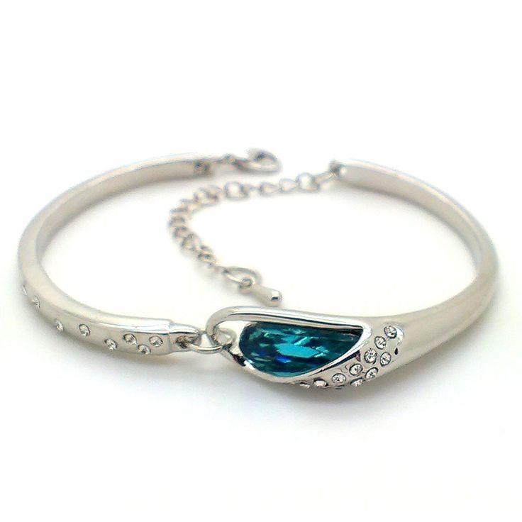 Trendy Mela Offers Discount on  Beora Platinum Plated Blue Crystal Bracelet Bangle. Visit Now @ Trendymela.com