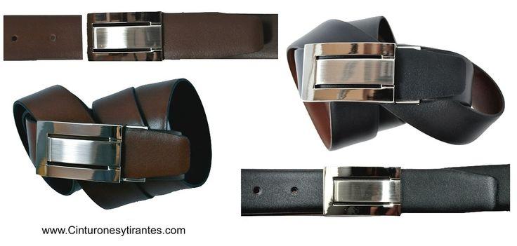 Cinturón de piel reversibles NEGRO Y MARRÓN con posibilidad de personalizar con el nombre.